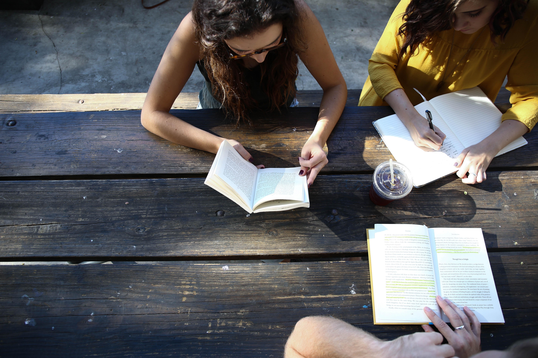Elever studerar tillsammans utomhus