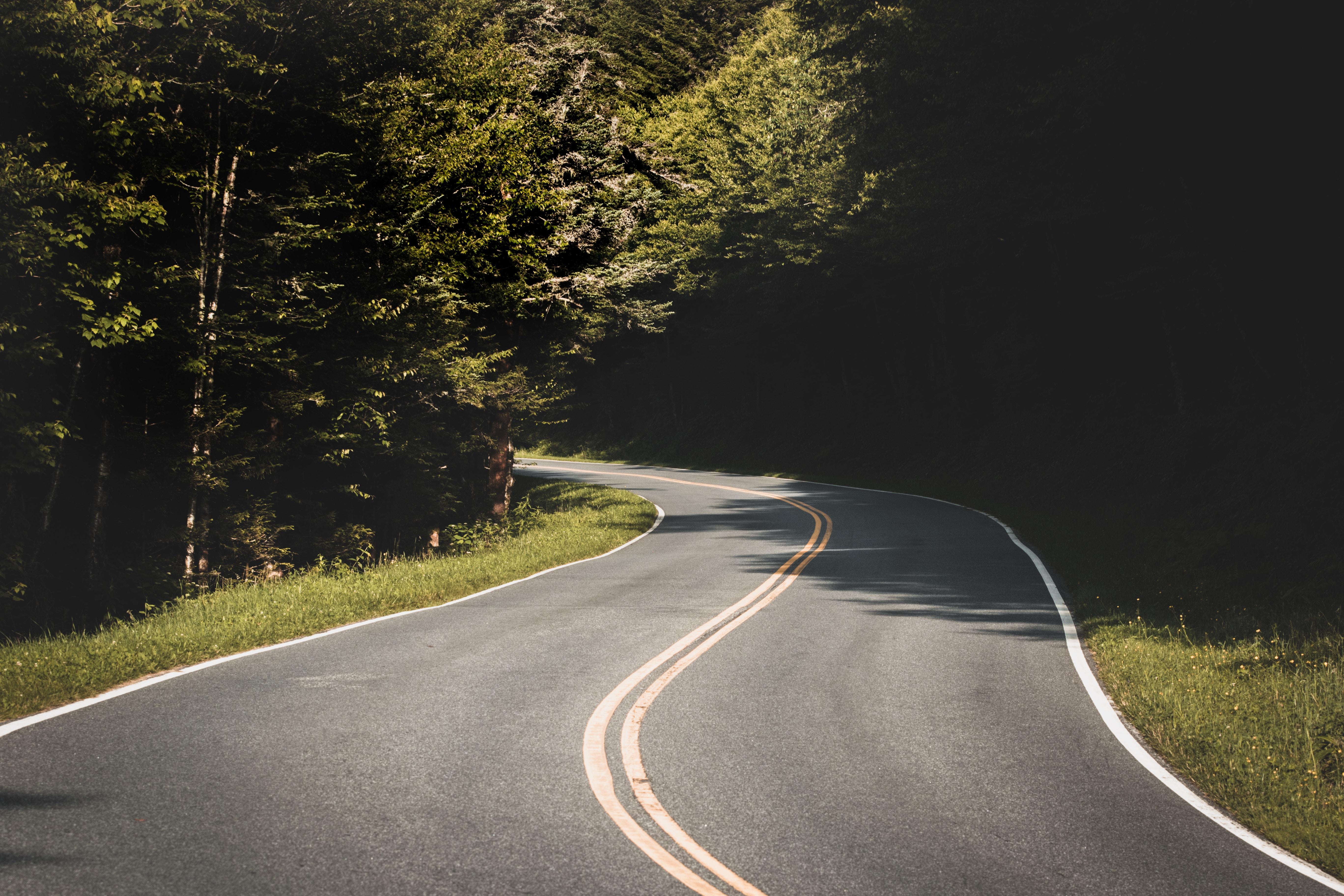 väg slingrar sig framåt